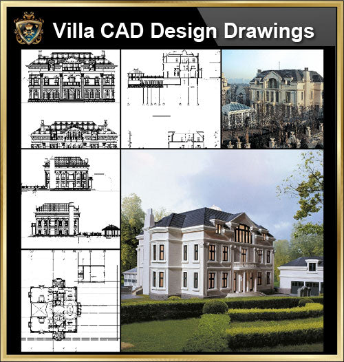 ★【Villa CAD Design,Details Project V.1-England Royal Style】Chateau,Manor,Mansion,Villa@Autocad Blocks,Drawings,CAD Details,Elevation - Architecture Autocad Blocks,CAD Details,CAD Drawings,3D Models,PSD,Vector,Sketchup Download