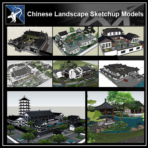 ★【20 Types Chinese Landscape Sketchup 3D Models】 - Architecture Autocad Blocks,CAD Details,CAD Drawings,3D Models,PSD,Vector,Sketchup Download