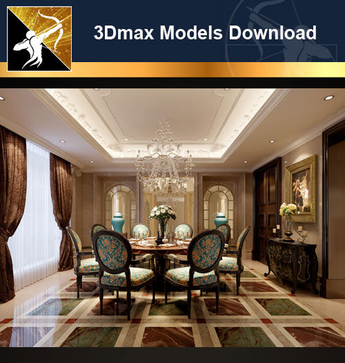 ★Download 3D Max Decoration Models -Dining Room V.17 - Architecture Autocad Blocks,CAD Details,CAD Drawings,3D Models,PSD,Vector,Sketchup Download