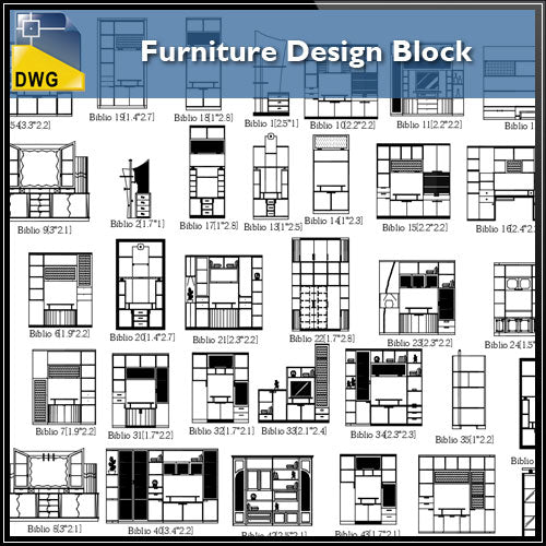 【Interior Design CAD Drawings】@Furniture Design CAD Block, CAD Drawings