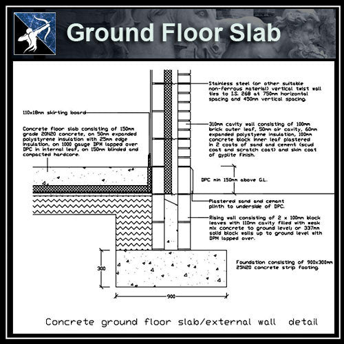 ★Free CAD Details-Ground Floor Slab