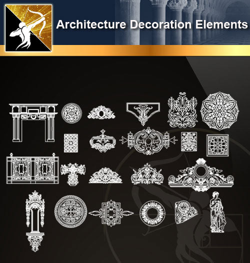 Free CAD Architecture Decoration Elements 8 - Architecture Autocad Blocks,CAD Details,CAD Drawings,3D Models,PSD,Vector,Sketchup Download