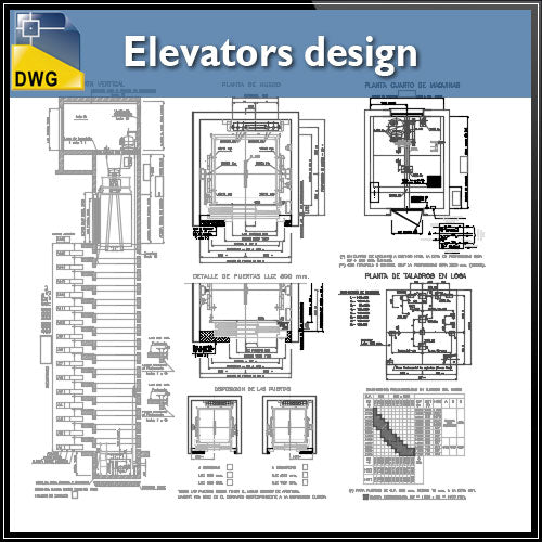 【CAD Details】Detail drawing blocks of elevators design CAD Details