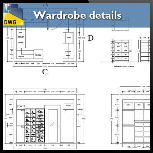 【Interior Design CAD Drawings】@Wardrobe detail and section dwg files V.2 - Architecture Autocad Blocks,CAD Details,CAD Drawings,3D Models,PSD,Vector,Sketchup Download