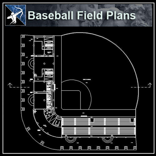【Architecture CAD Projects】Baseball field CAD plans ,CAD Blocks - Architecture Autocad Blocks,CAD Details,CAD Drawings,3D Models,PSD,Vector,Sketchup Download