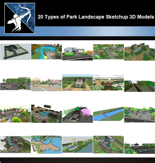 ★Best 20 Types of Park Landscape Sketchup 3D Models Collection V 1