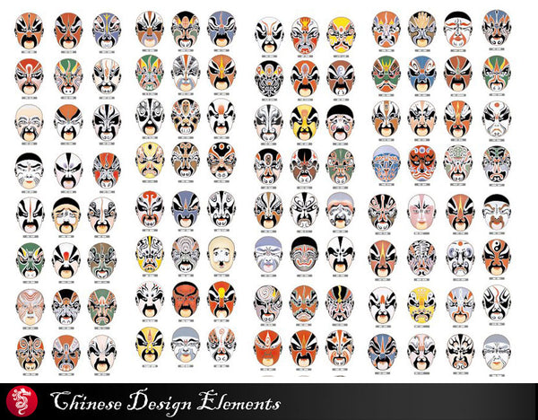 "★104 Types of ""Peking Opera,beijing opera"" Face Clipart,EPS Vector pattern Design,EPS clipart,tattoo design,Digital Download vector"