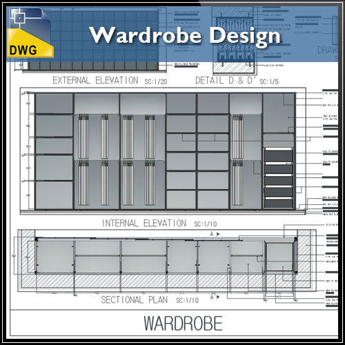 【Interior Design CAD Drawings】@Wardrobe Design CAD Drawings - Architecture Autocad Blocks,CAD Details,CAD Drawings,3D Models,PSD,Vector,Sketchup Download