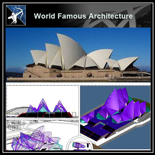 【World Famous Architecture CAD Drawings】The sydney opera house, australia, by jorn utzon - Architecture Autocad Blocks,CAD Details,CAD Drawings,3D Models,PSD,Vector,Sketchup Download
