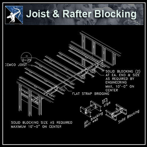 ★Free CAD Details-Joist & Rafter Blocking - Architecture Autocad Blocks,CAD Details,CAD Drawings,3D Models,PSD,Vector,Sketchup Download