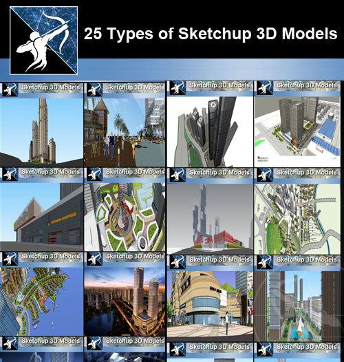 ★Best 25 Types of Mix Commercial,Residential Building Sketchup 3D Models Collection(Recommanded!!)