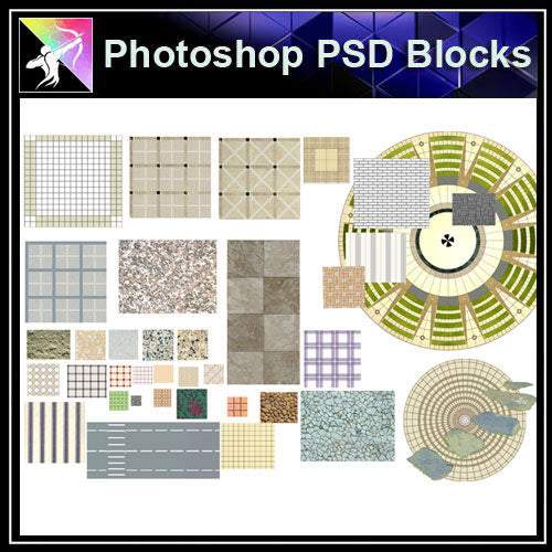 【Photoshop PSD Landscape Blocks】Landscape Paving Blocks 1 - Architecture Autocad Blocks,CAD Details,CAD Drawings,3D Models,PSD,Vector,Sketchup Download
