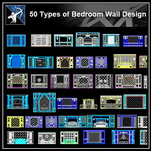 ★【Over 52 Types Bedroom Back Wall Design CAD Drawings】