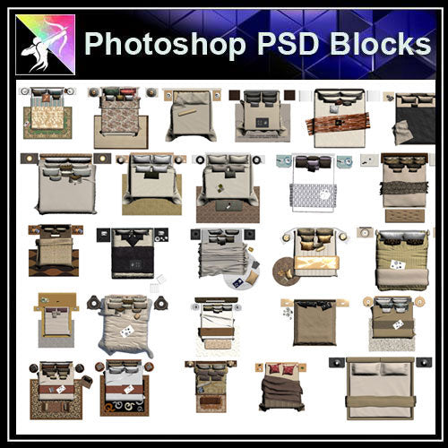 【Photoshop PSD Blocks】Bed Blocks - Architecture Autocad Blocks,CAD Details,CAD Drawings,3D Models,PSD,Vector,Sketchup Download