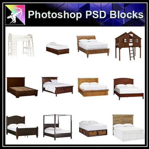 【Photoshop PSD Blocks】Bed Blocks V1 - Architecture Autocad Blocks,CAD Details,CAD Drawings,3D Models,PSD,Vector,Sketchup Download