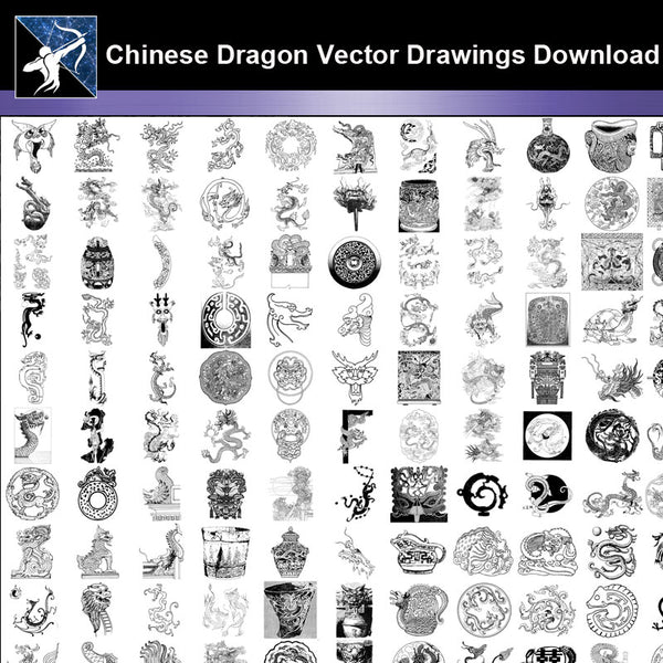 ★Chinese Dragon Vector Drawings Download -Vector file Download - Architecture Autocad Blocks,CAD Details,CAD Drawings,3D Models,PSD,Vector,Sketchup Download