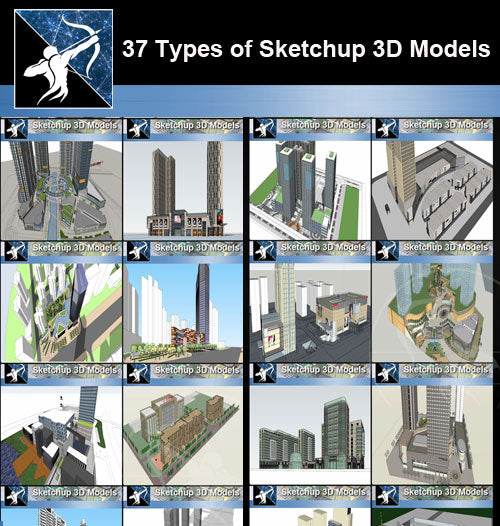 ★Best 37 Types of Commercial,Office Building Sketchup 3D Models  Collection(Recommanded!!)