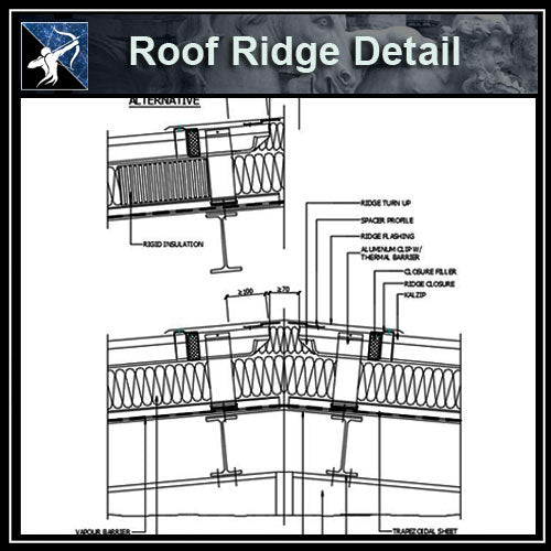 ★Free CAD Details-Roof Ridge Detail - Architecture Autocad Blocks,CAD Details,CAD Drawings,3D Models,PSD,Vector,Sketchup Download