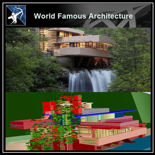 【World Famous Architecture CAD Drawings】Fallingwater of Frank Lloyd Wright  -CAD 3D Drawings