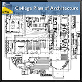 【Architecture CAD Projects】@College Plan of Architecture Design CAD Drawings - Architecture Autocad Blocks,CAD Details,CAD Drawings,3D Models,PSD,Vector,Sketchup Download