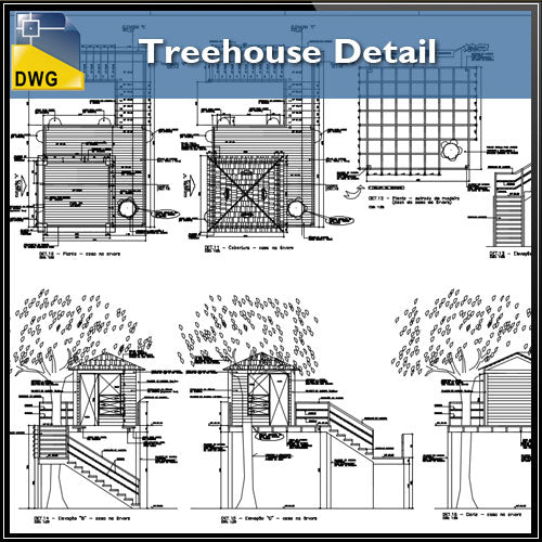 【CAD Details】Treehouse CAD Details - Architecture Autocad Blocks,CAD Details,CAD Drawings,3D Models,PSD,Vector,Sketchup Download