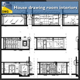 【Interior Design CAD Drawings】@House drawing room interiors detail and design in cad dwg