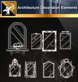 Free CAD Architecture Decoration Elements 1 - Architecture Autocad Blocks,CAD Details,CAD Drawings,3D Models,PSD,Vector,Sketchup Download