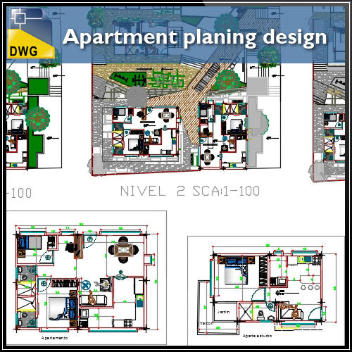 【CAD Details】Apartment planing design drawing - Architecture Autocad Blocks,CAD Details,CAD Drawings,3D Models,PSD,Vector,Sketchup Download