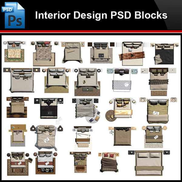 ★Photoshop PSD Blocks-Interior Design PSD Blocks-Bed PSD Blocks - Architecture Autocad Blocks,CAD Details,CAD Drawings,3D Models,PSD,Vector,Sketchup Download