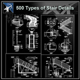 ★【Over 500 Stair Details CAD Drawings】 - Architecture Autocad Blocks,CAD Details,CAD Drawings,3D Models,PSD,Vector,Sketchup Download