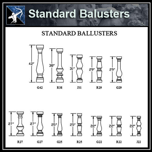 ★Free CAD Details-Standard Balusters - Architecture Autocad Blocks,CAD Details,CAD Drawings,3D Models,PSD,Vector,Sketchup Download