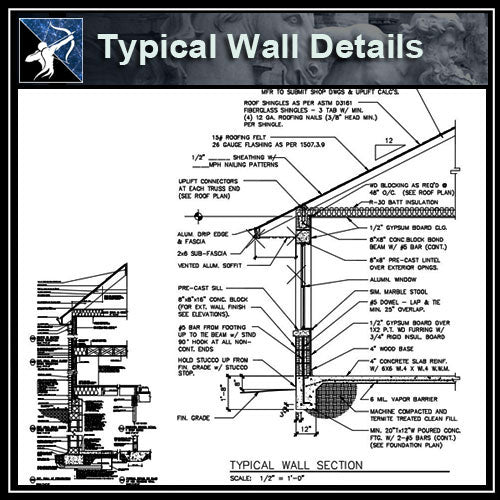 【Architecture Details】Typical Wall Details - Architecture Autocad Blocks,CAD Details,CAD Drawings,3D Models,PSD,Vector,Sketchup Download
