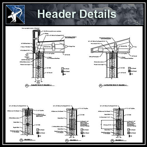 【Architecture Details】Header Details - Architecture Autocad Blocks,CAD Details,CAD Drawings,3D Models,PSD,Vector,Sketchup Download