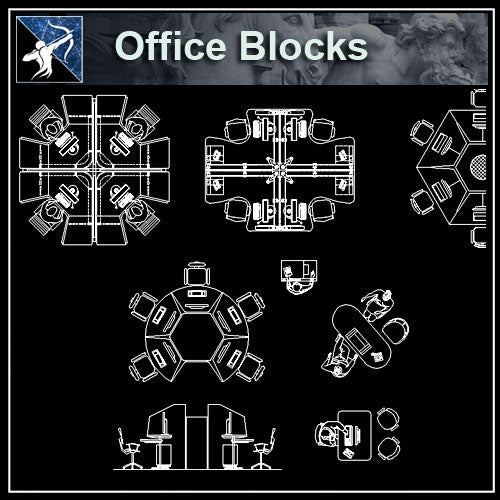 【Architecture CAD Projects】Office CAD Blocks,Plans,Elevation