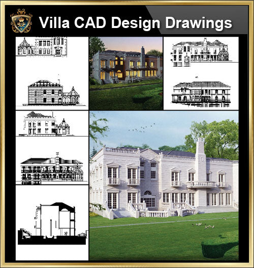 ★【Villa CAD Design,Details Project V.7-British George Style】Chateau,Manor,Mansion,Villa@Autocad Blocks,Drawings,CAD Details,Elevation - Architecture Autocad Blocks,CAD Details,CAD Drawings,3D Models,PSD,Vector,Sketchup Download