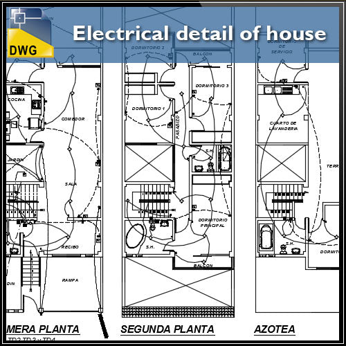 【CAD Details】Electrical Detaisl of house in autocad dwg files - Architecture Autocad Blocks,CAD Details,CAD Drawings,3D Models,PSD,Vector,Sketchup Download