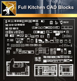 ★Full Kitchen Blocks - Architecture Autocad Blocks,CAD Details,CAD Drawings,3D Models,PSD,Vector,Sketchup Download