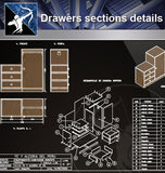 【Wood Constructure Details】Drawers sections detail in autocad dwg files