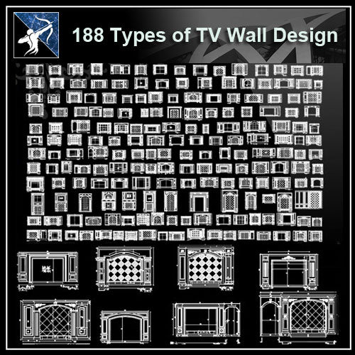★【188 Types of TV Wall Design CAD Drawings】