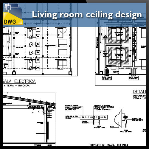 【CAD Details】Living room ceiling design and detail dwg files