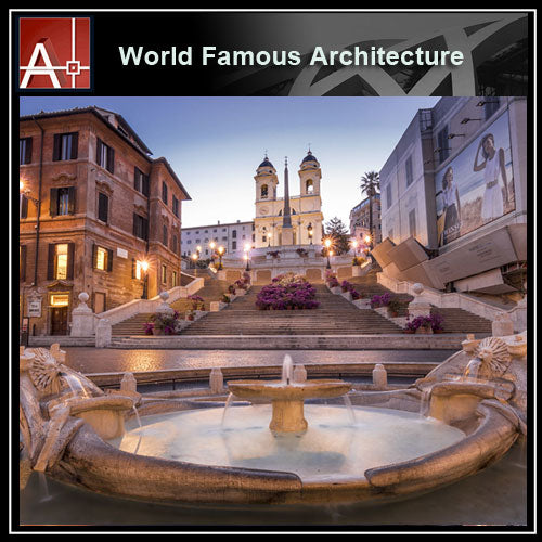 【Famous Architecture Project】Piazza di Spagna-Architectural 3D SKP model - Architecture Autocad Blocks,CAD Details,CAD Drawings,3D Models,PSD,Vector,Sketchup Download