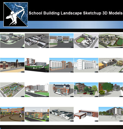 ★Best 20 Types of School Sketchup 3D Models Collection V.5