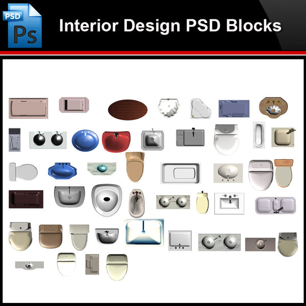 ★Photoshop PSD Blocks-Interior Design PSD Blocks-Toilet ware PSD Blocks - Architecture Autocad Blocks,CAD Details,CAD Drawings,3D Models,PSD,Vector,Sketchup Download