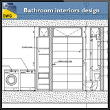 【Interior Design CAD Drawings】@Bathroom interiors design and detail in autocad dwg files - Architecture Autocad Blocks,CAD Details,CAD Drawings,3D Models,PSD,Vector,Sketchup Download