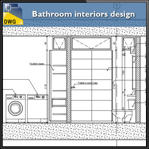 【Interior Design CAD Drawings】@Bathroom interiors design and detail in autocad dwg files