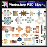 【Photoshop PSD Blocks】Desk Blocks - Architecture Autocad Blocks,CAD Details,CAD Drawings,3D Models,PSD,Vector,Sketchup Download