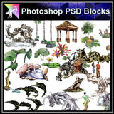 【Photoshop PSD Landscape Blocks】Hand-painted Landscape Blocks 3