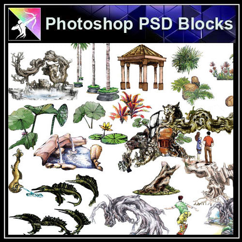 【Photoshop PSD Landscape Blocks】Hand-painted Landscape Blocks 3 - Architecture Autocad Blocks,CAD Details,CAD Drawings,3D Models,PSD,Vector,Sketchup Download
