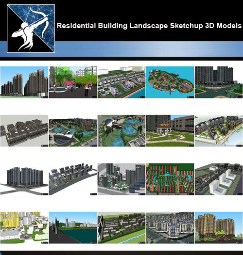 ★Best 20 Types of Residential Building Landscape Sketchup 3D Models  Collection V 8