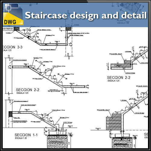 【CAD Details】Staircase design and CAD Details - Architecture Autocad Blocks,CAD Details,CAD Drawings,3D Models,PSD,Vector,Sketchup Download